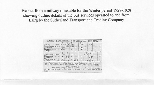 Sutherland Transport and Trading Company - Timetable summary 1927-1928
