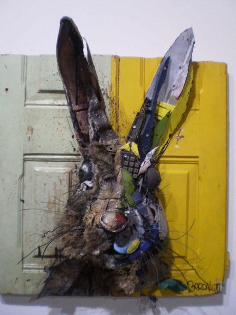 Rabbit in two halves, by Bordalo II.