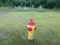 Funerary hydrant in flat country