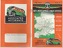 Associated Motorways Summer 1949 timetable cover