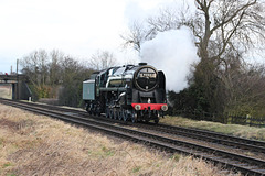 """B.R standard Class 9F no 92214 """"Leicester City"""" heads light engine to Quorn and Woodhouse"""