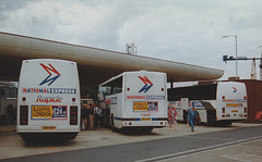 National Express coaches at Heathrow Airport Central Bus Station - 2 July 1996