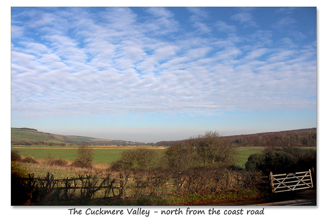 Cuckmere Valley - looking north from the A259, coast road - Sussex - 19.1.2016