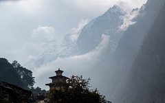 Chorten With Misty Mountains