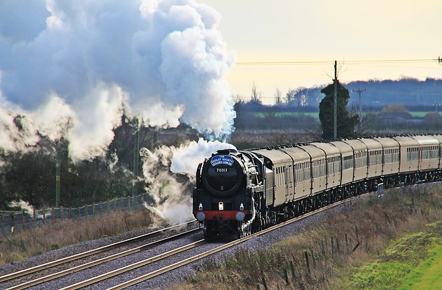 """BR Britannia Class 7MT 4-6-2 no 70013 """"Oliver Cromwell""""  on """"The Lindum Christmas Fayre"""" 7th Dec 2013"""