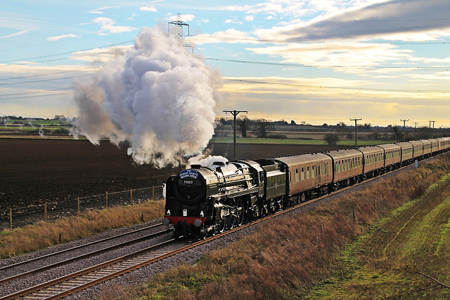 "BR Britannia Class 7MT 4-6-2 no 70013 ""Oliver Cromwell""  on ""The Lindum Christmas Fayre"" 7th Dec 2013"