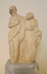 Unfinished Group of a Satyr and a Maenad in the National Archaeological Museum of Athens, May 2014