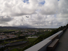 Airplane before landing on Lajes Airport.