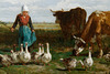 """""""Le pâturage à la gardeuse d'oies"""" (détail) (Constant Troyon - 1854)"""