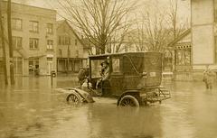 Automobile in Flooded Street, Warren, Pennsylvania, March 1913