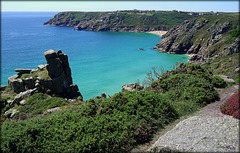 Porthcurno and The Minack Theatre from Trereen Dinas South, best enlarged..