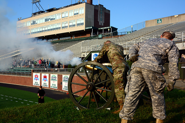 A cannon salute starts the climbers