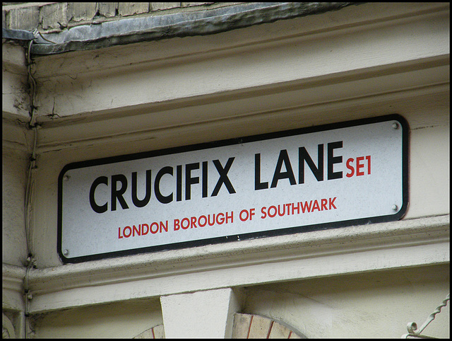 Crucifix lane street sign