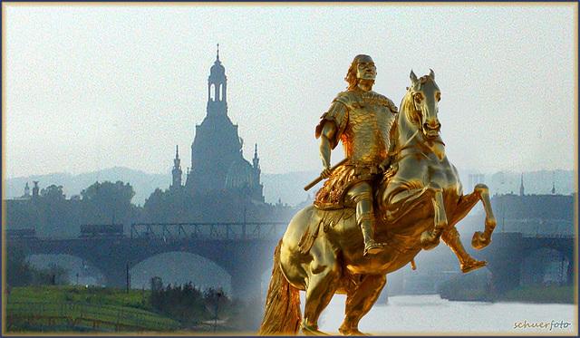 Dresden, (Fotomontage)  August der Starke sächsischer Kurfürst und König von Polen