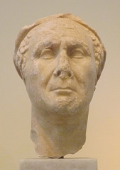 Portrait Head of a Man Wearing a Wreath in the National Archaeological Museum of Athens, May 2014