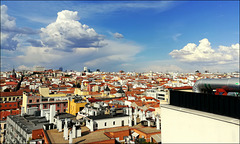 Hotel rooftop terrace bar overlooking Madrid to the north