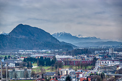 View of the Alps and river Inn valley from Kufstein fortress in Tyrol, Austria