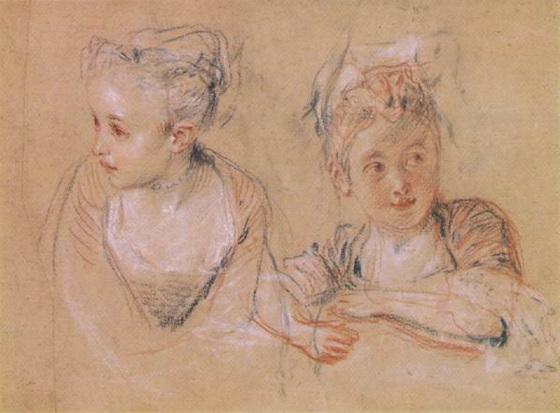 Watteau : étude de jeune fille