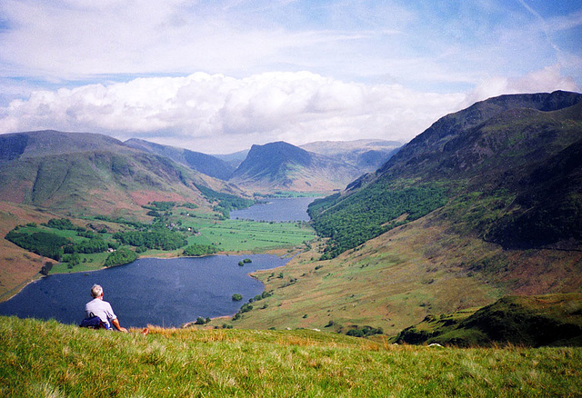 View of Crummock Water and Buttermere from Melbreak (Scan from May 1991)