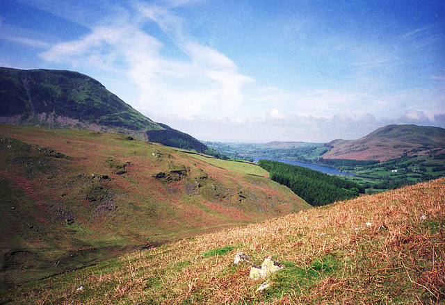 Loweswater from western slopes of Mellbreak (Scan from May 1991)