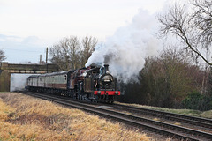 Fowler class 3F no 47406 and  LMS Crab no 13065  double head towards Quorn and Woodhouse