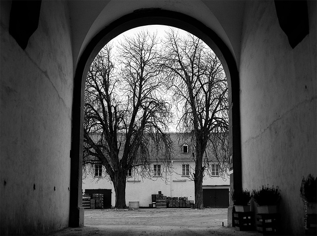 archway with courtyard