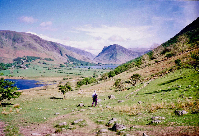 Fleetwith Pike in the centre from the path returning to Buttermere (Scan from May 1991)