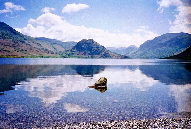 Looking across Crummock Water with Low Bank in the centre (Scan from May 1991)