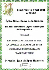 Concert Chorale Ancoeur-Couperin à Rozay-en-Brie - 2015