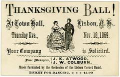 Thanksgiving Ball! Lisbon, N.H., 1869