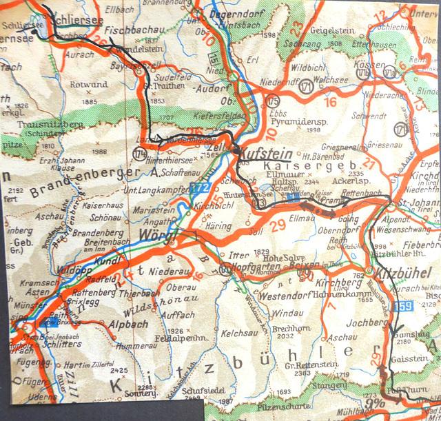 Jugoslawien - Radtour - 4.8. - 17.9.1955 Schliersee - Kufstein Pass Thurn