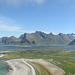 Norway, Lofoten Islands, Panoramic View to the East from Yttersandheia Ridge