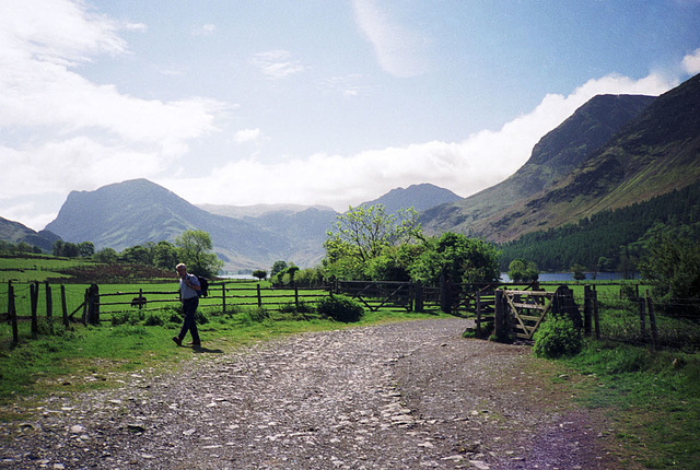 Buttermere from the footpath near Wilkinsyke Farm with Fleetwith Pike (648m) on the left and High Stile and Haystacks on the right (Scan from May 1991)