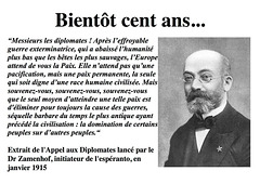 Zamenhof, 1915, Appel aux diplomates