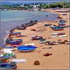 Hammamet : vista dalla fortezza questa originale spiaggia parking di barche nuove o mal ridotte