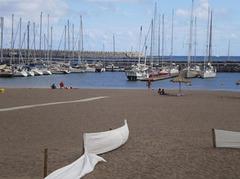 Beach and marina.