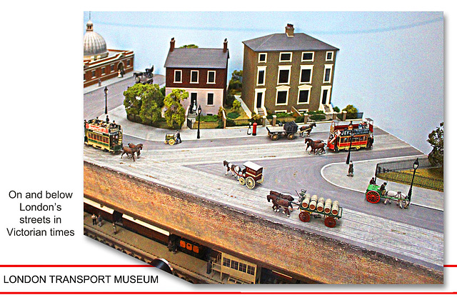 London Transport Museum - model of horse trams and tube c1890
