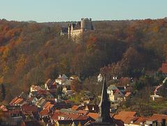 Kranichfeld, Blick über den Ort zum Oberschloss