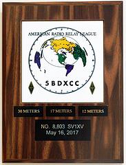 5 Band DXCC plaque