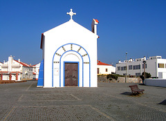 Chapel of Nossa Senhora do Mar, the white-washed simple nave temple dedicated to Our Lady of the Sea
