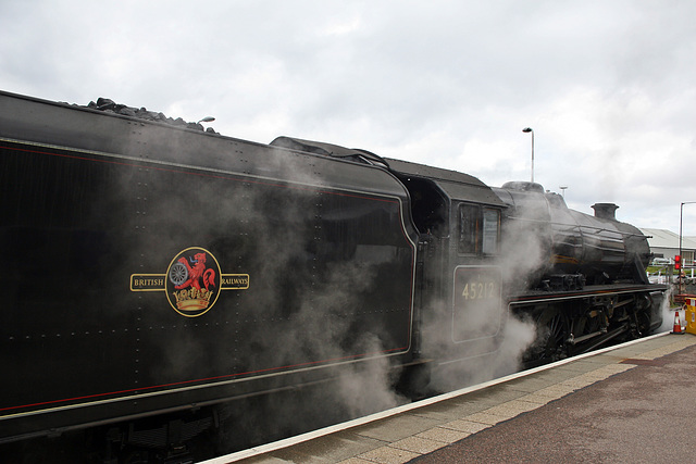 LMS class 5MT 45212 stands at Mallaig after arriving with The Jacobite 21st April 2017