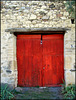 Red door. Canicosa, Segovia Province