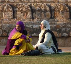 Delhi- Visitors to Isa Khan's Tomb