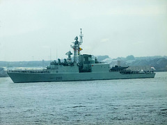 Warship leaving on the River Mersey after the battle of the Atlantic commemoration (2)