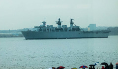 Warship leaving on the River Mersey after the battle of the Atlantic commemoration