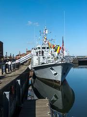 Warship near Albert dock Liverpool