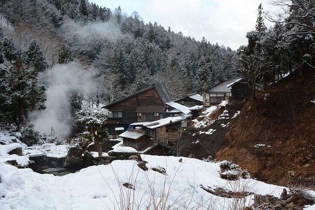 Japan, Jigokudani Yaen-Kōen Snow Monkey Park, Hot spring Korakukan Guest House