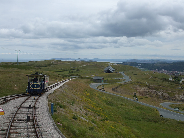 DSCF9870 Car 7 approaching the midway point on the upper section of the Great Orme Tramway. Seen from descending car 6.
