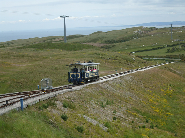 DSCF9869 Car 7 approaching the midway point on the upper section of the Great Orme Tramway. Seen from descending car 6.