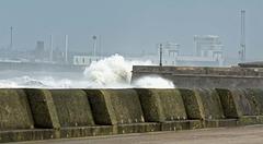 Waves hitting the promanade sea wall